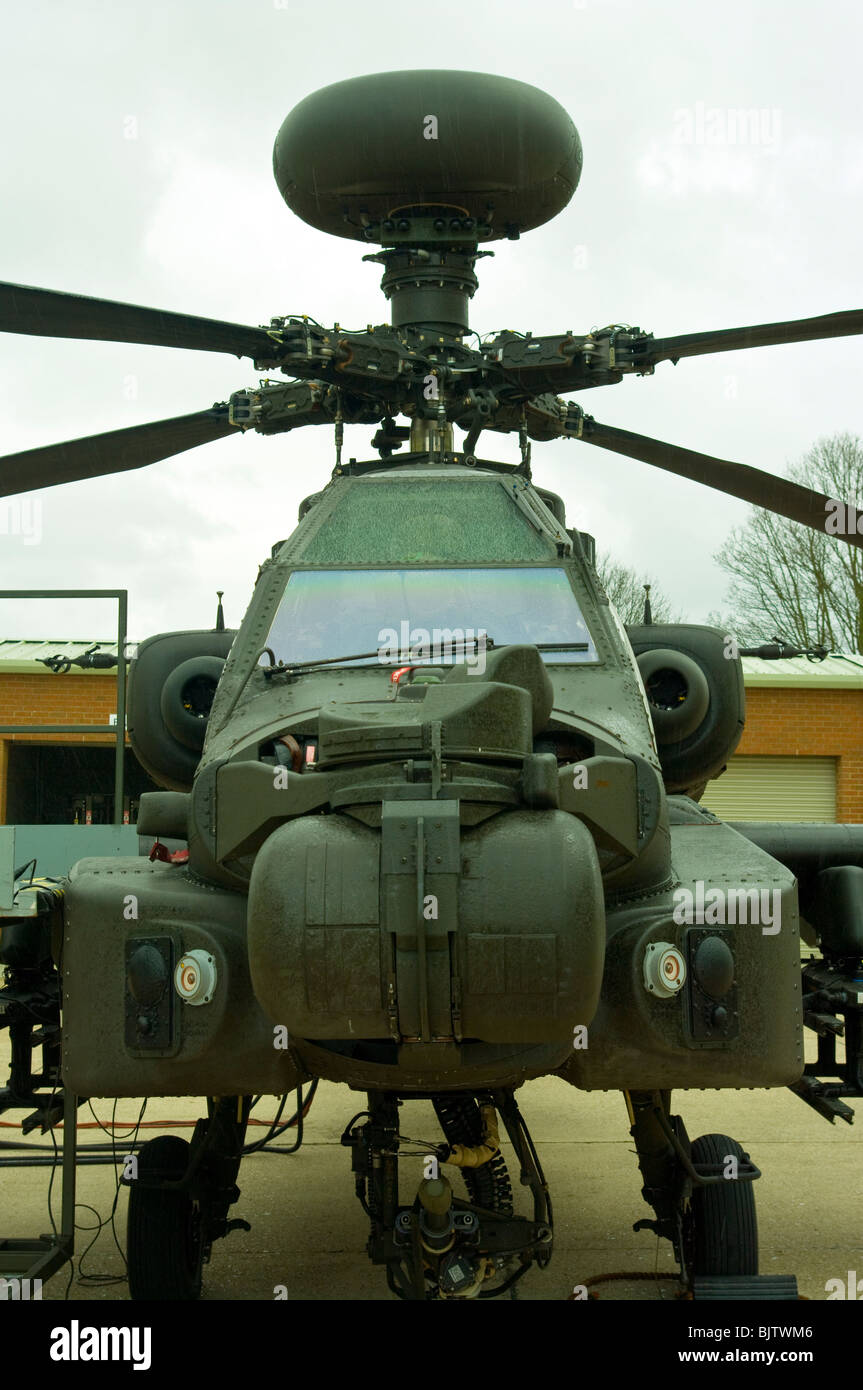 Front View Of A British Army Westland Attack Helicopter WAH-64 MK1 Apache Longbow - Stock Image