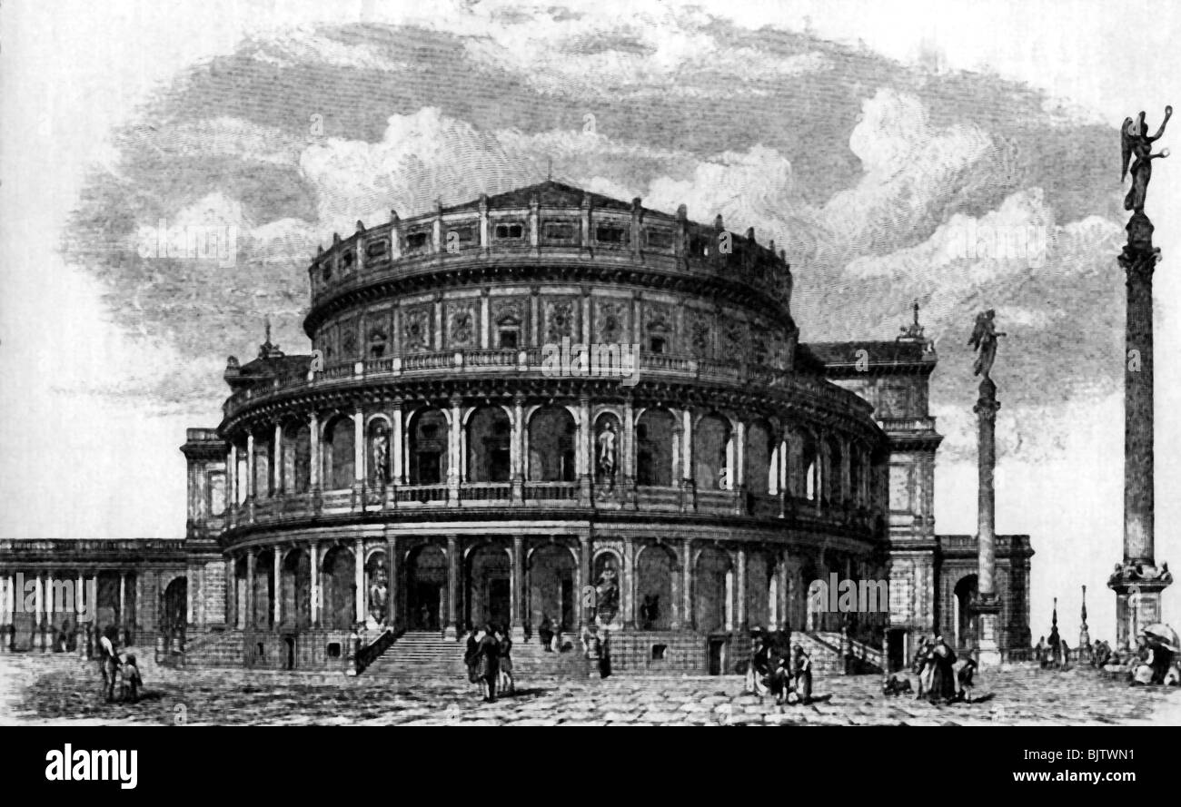 geography / travel, Germany, Dresden, opera house, built: 1837 - 1841 by Gottfried Semper, wood engraving, after - Stock Image