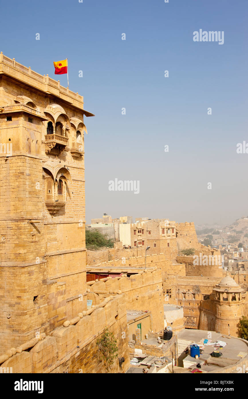 partial view of the Jaisalmer Fort with palace, fortifications and city below, Rajasthan India - Stock Image