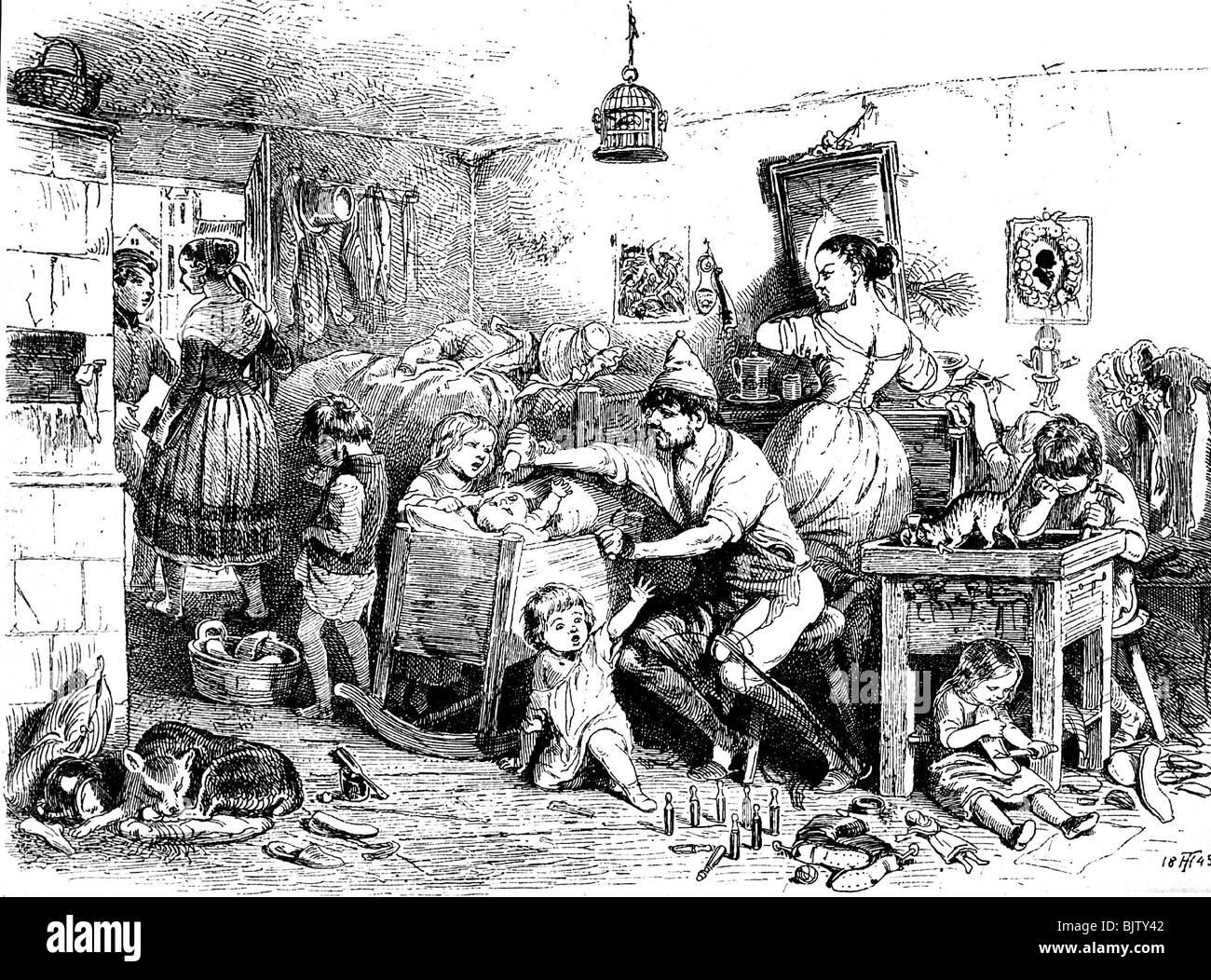 People Misery Adversity Poor Housing 19th Century