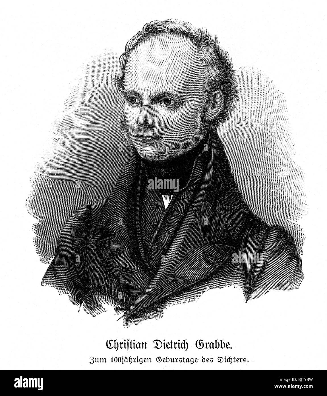 Grabbe, Christian Dietrich, 11.12.1801 - 12.9.1836, German poet, portrait, wood engraving, 1901, , Additional-Rights Stock Photo