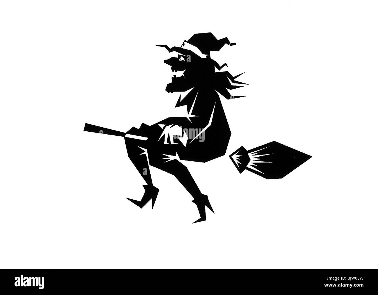 superstition witches witch on broomstick silhouette stock photo