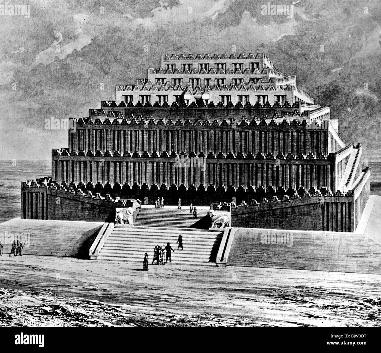 ancient world, Babylon, Tower of Babel, reconstruction by Sir Henry Rawlinson, 19th century, National Museum, Washington - Stock Image