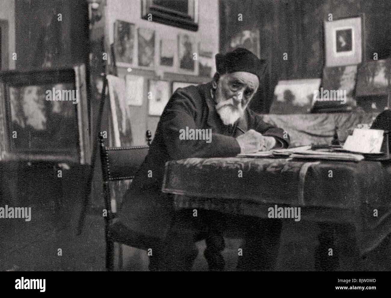 Henri-Joseph Harpignies, French artist, 1905. - Stock Image