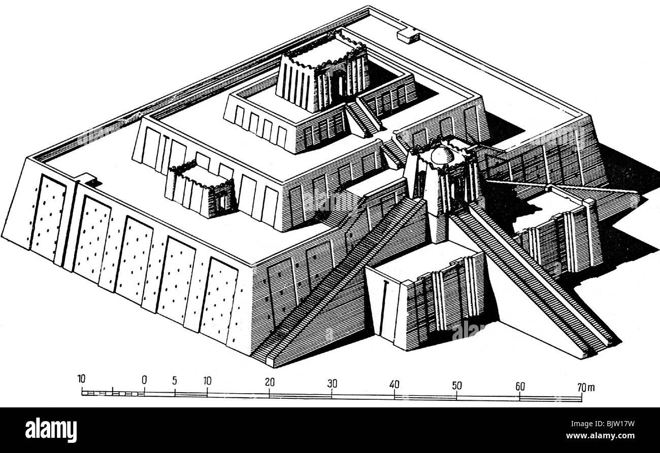ancient world, Mesopotamia, Ur, Ziggurat, late 3th century BC, reconstruction, drawing, historic, historical, measurement, - Stock Image