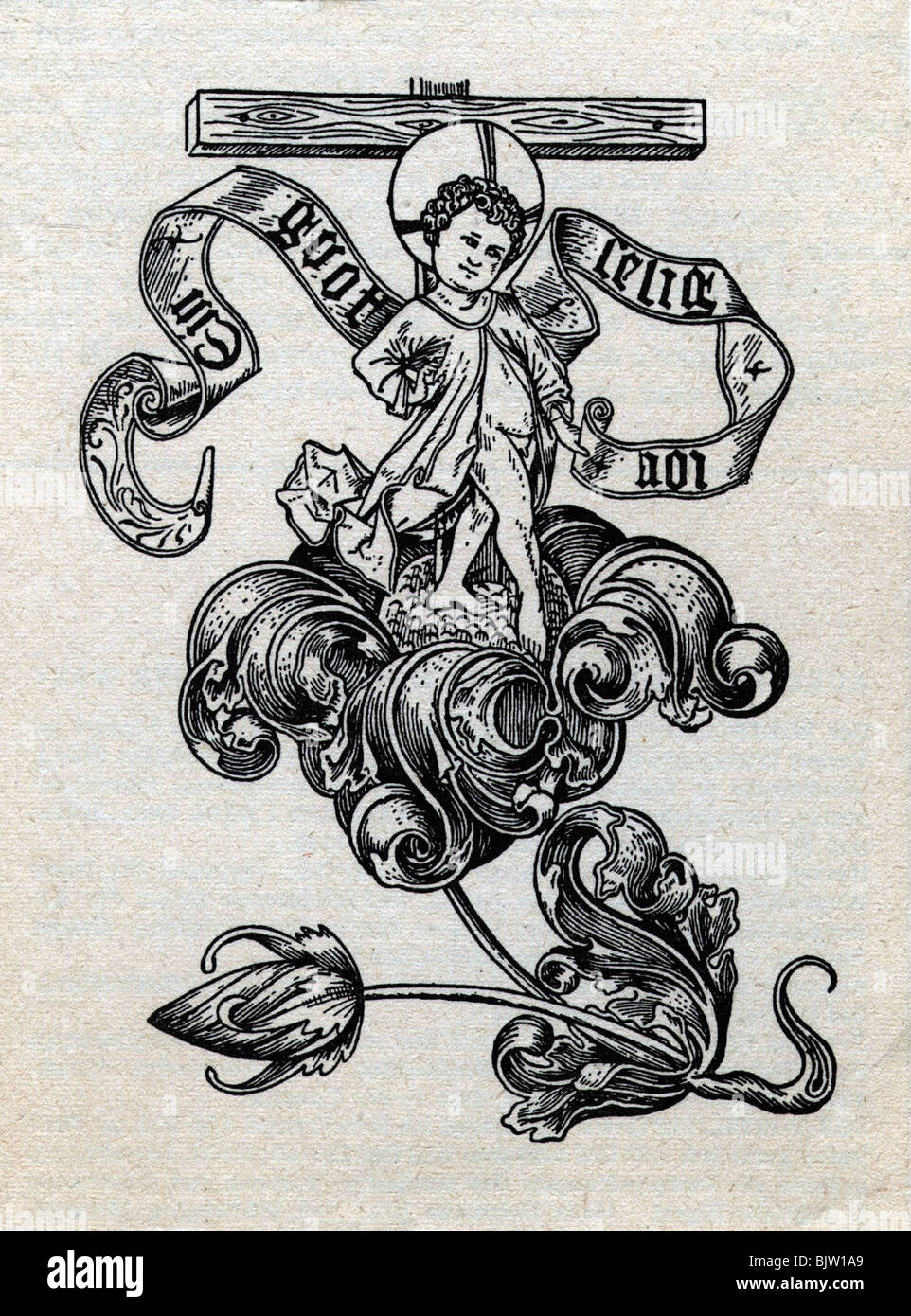 Festivity New Year Greetings From 1467 Woodcut 15th Century