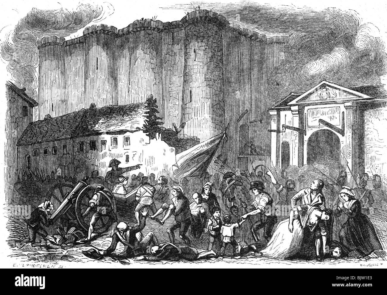 geography / travel, France, French Revolution 1789, storming of the Bastille, 14.7.1789, 18th century, historic, - Stock Image