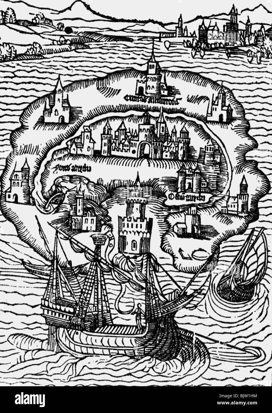 More, Thomas, 7.2. 1478 - 6.7.1535, English philosopher and politician, works, 'Utopia', 1516, title, Island - Stock Image