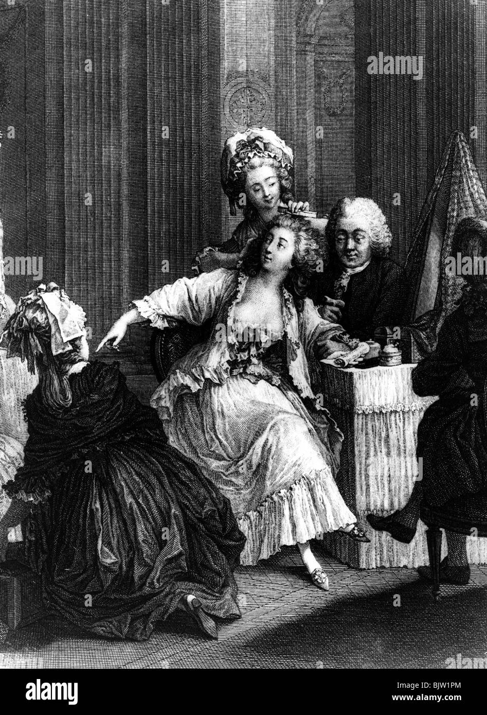 cosmetics, servants making hair of a lady of high society, copper engraving, 18th century, historic, historical, - Stock Image