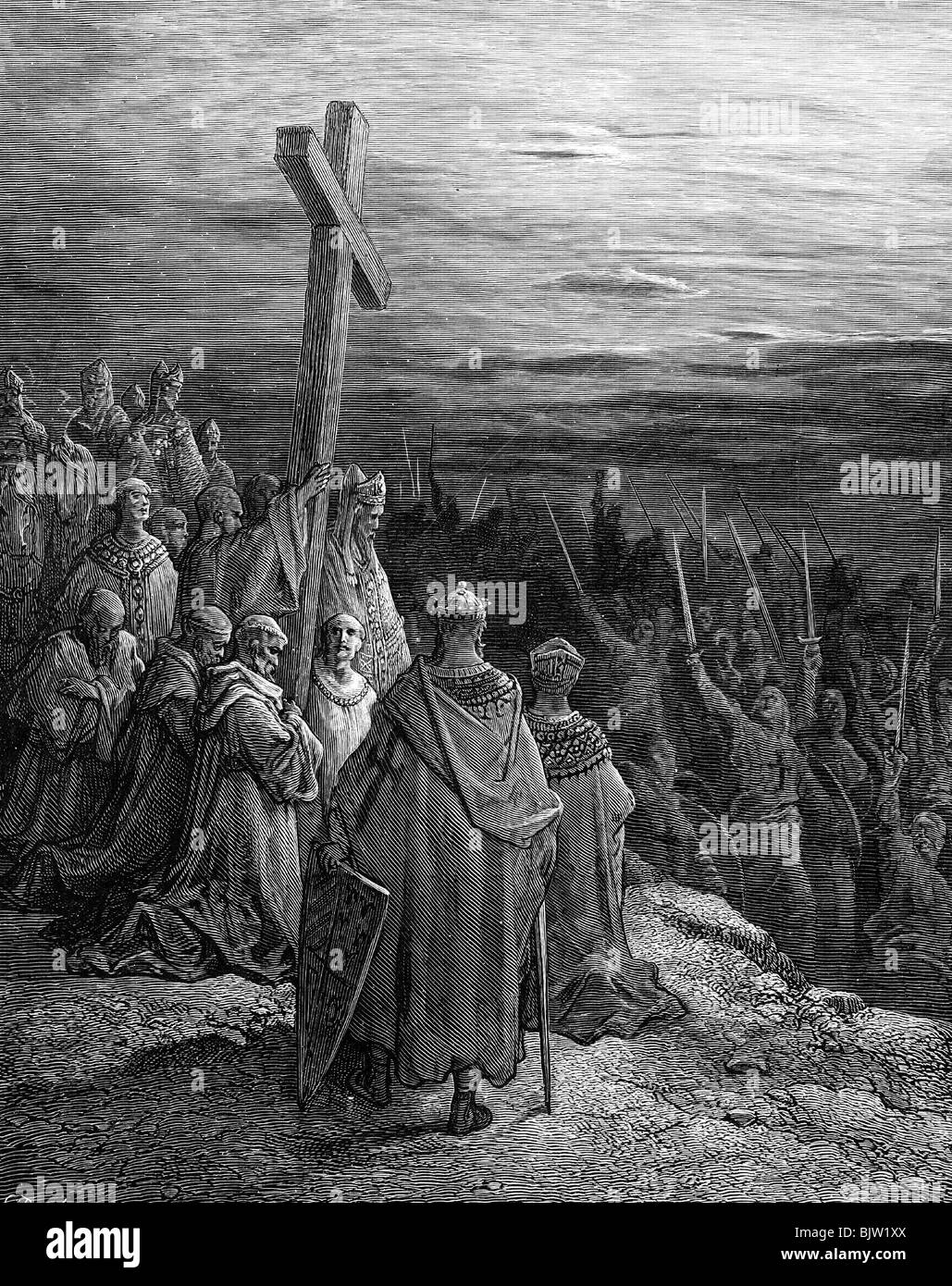 Middle Ages, crusades, First Crusade 1096 - 1099, the cross inspires the army, wood engraving by H. Pisan after Stock Photo