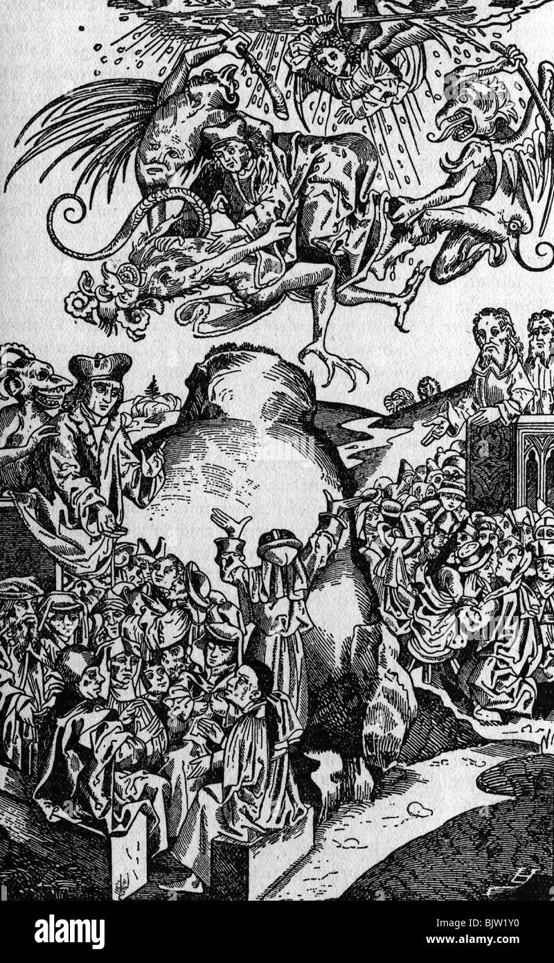 superstition, devil, arrival of the antichrist, woodcut from Hartmann Schedel World Chronicle, Nuremberg, 1493, - Stock Image