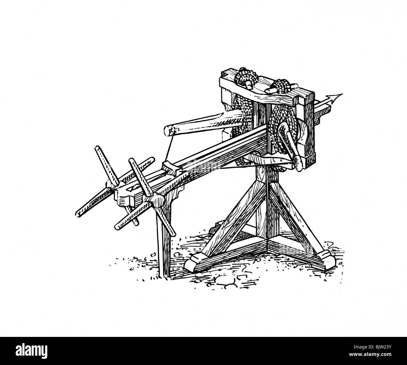 Siege Engine Stock Photos Images Alamy Catapult Motion Diagram Onager Military Ancient World Engines Reconstruction 19th Century Historic