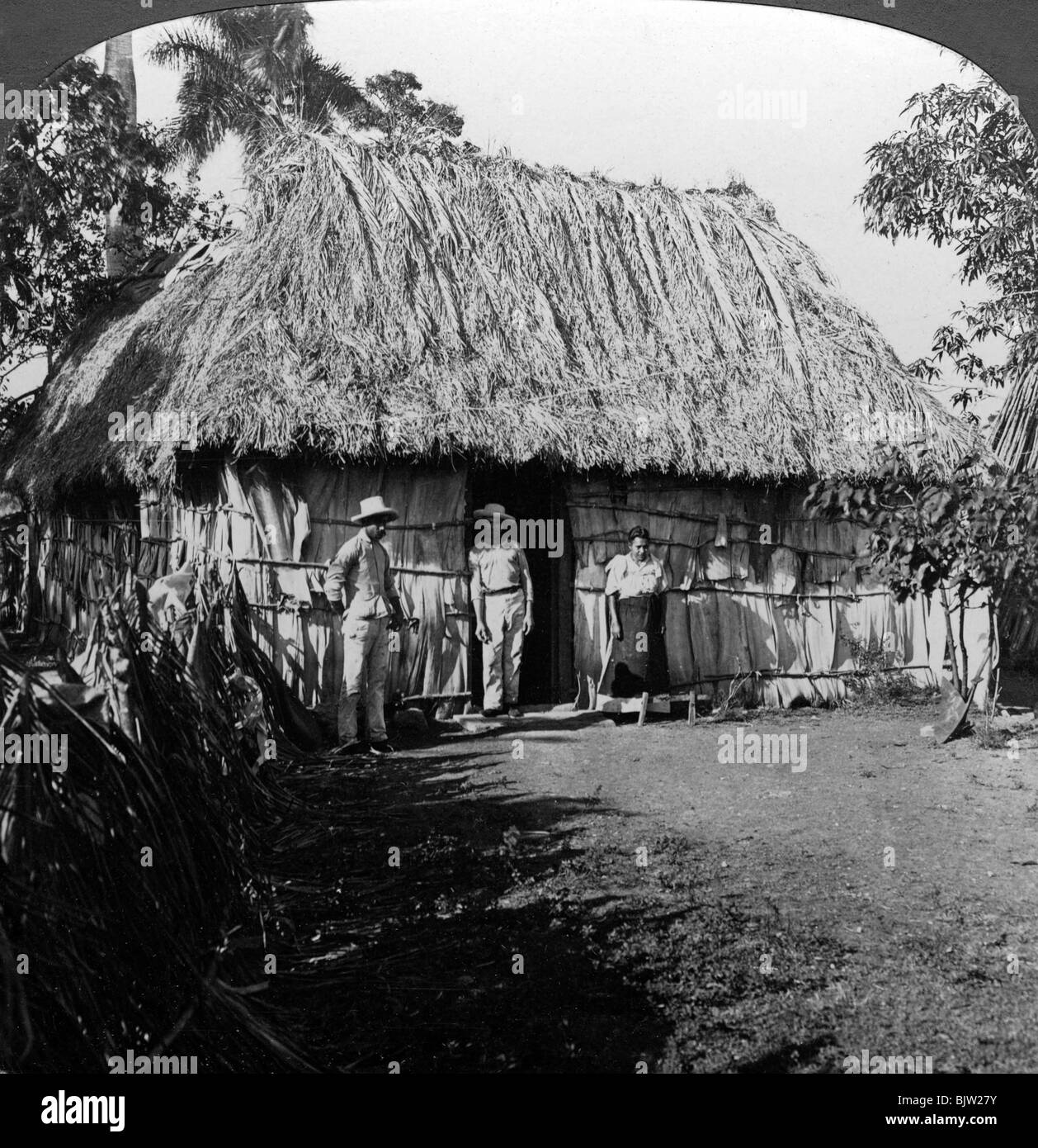 A home in the interior of the island of Cuba. Stereoscopic card detail. - Stock Image