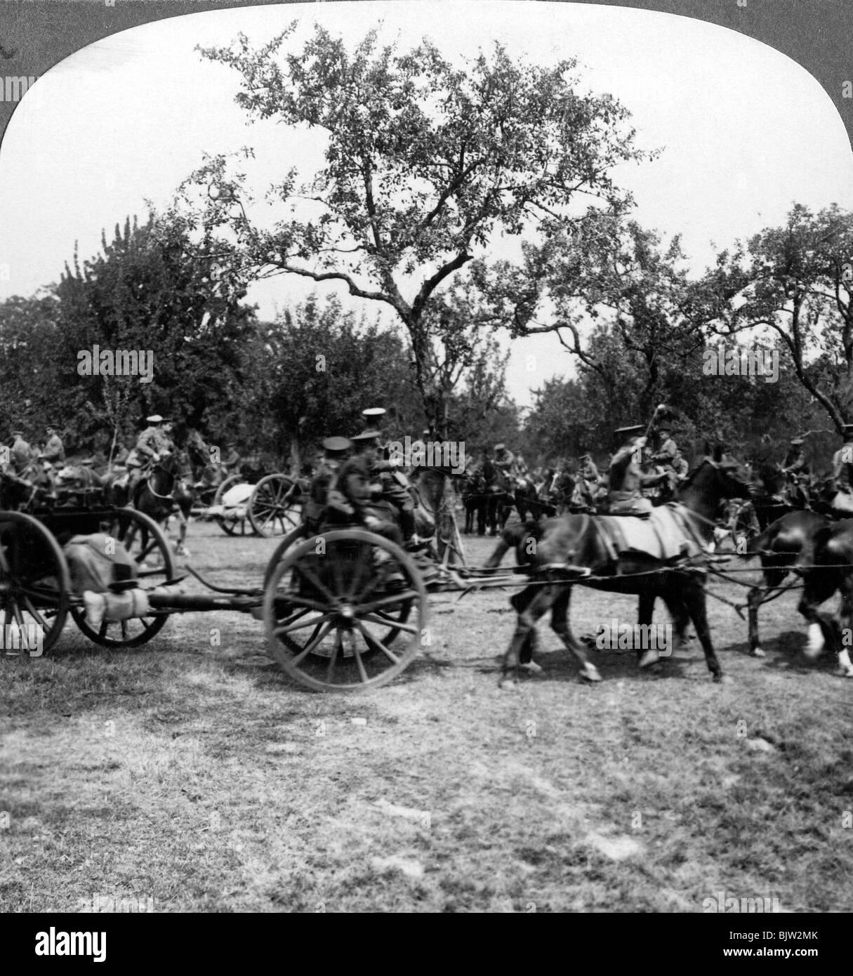 Horse-drawn artillery, World War I, 1914-1918. - Stock Image