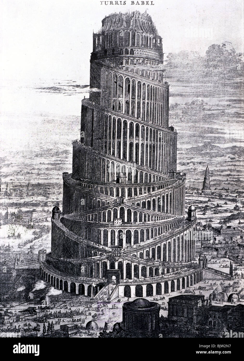 ancient world, Babylon, Tower of Babel, copper engraving, circa 17th / 18th century, historic, historical, towers, - Stock Image