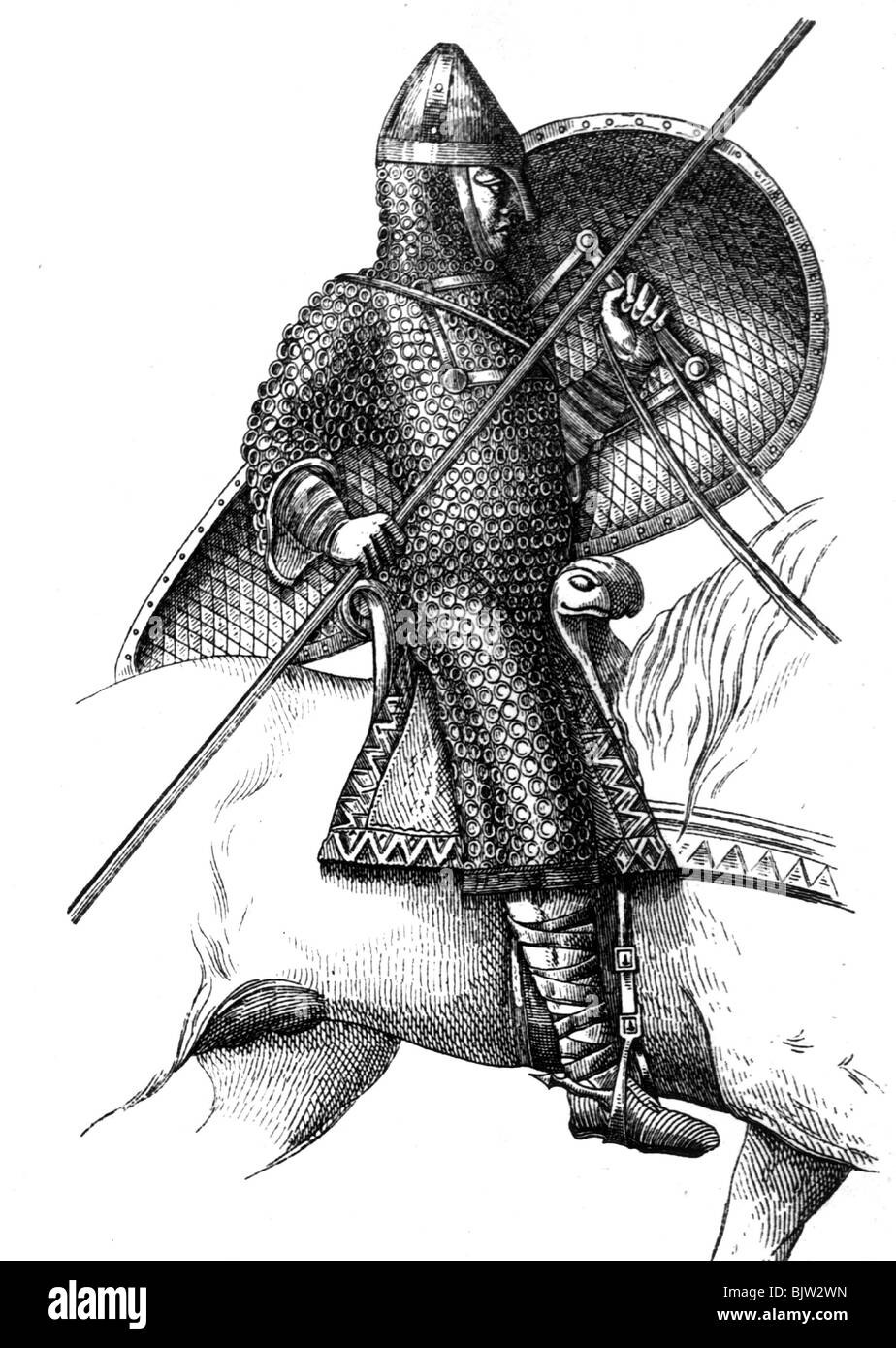 middle ages, knights, Norseman, Norman rider fron Battle of Hastings, 1066, Additional-Rights-Clearances-NA - Stock Image