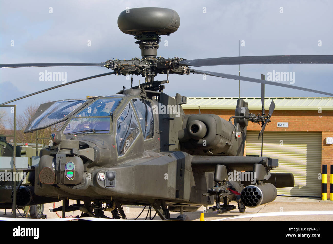A British Army Westland Attack Helicopter WAH-64 MK1 Apache Longbow - Stock Image