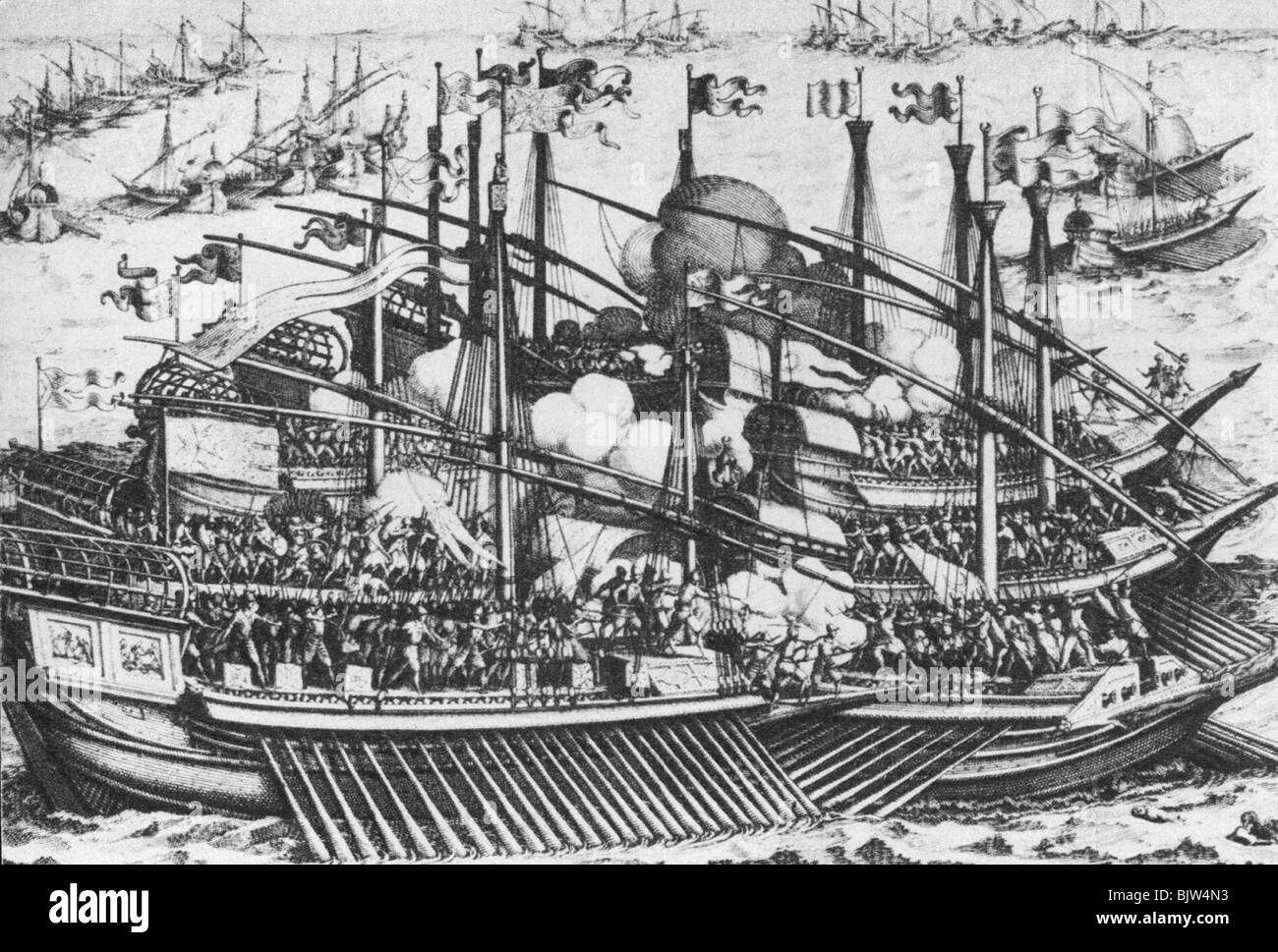 Middle Ages, crusades, naval battle, Christian ships against the Turkish army, historic, historical, crusader, crusaders, - Stock Image
