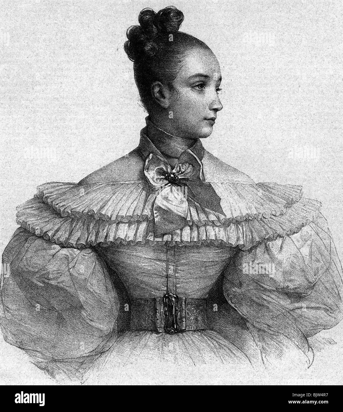 fashion, ladie's fashion, 19th century, dress with puffy sleeve, wood engraving, illustration 'Frederike' - Stock Image