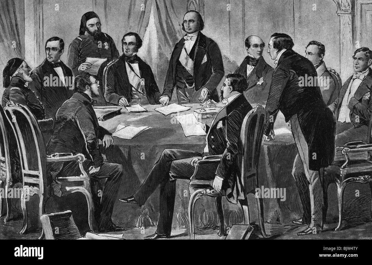 events, Crimean War 1853 - 1856, Treaty of Paris, 30.3.1856, delegates form Russia, Great Britain, France, Sardinia - Stock Image