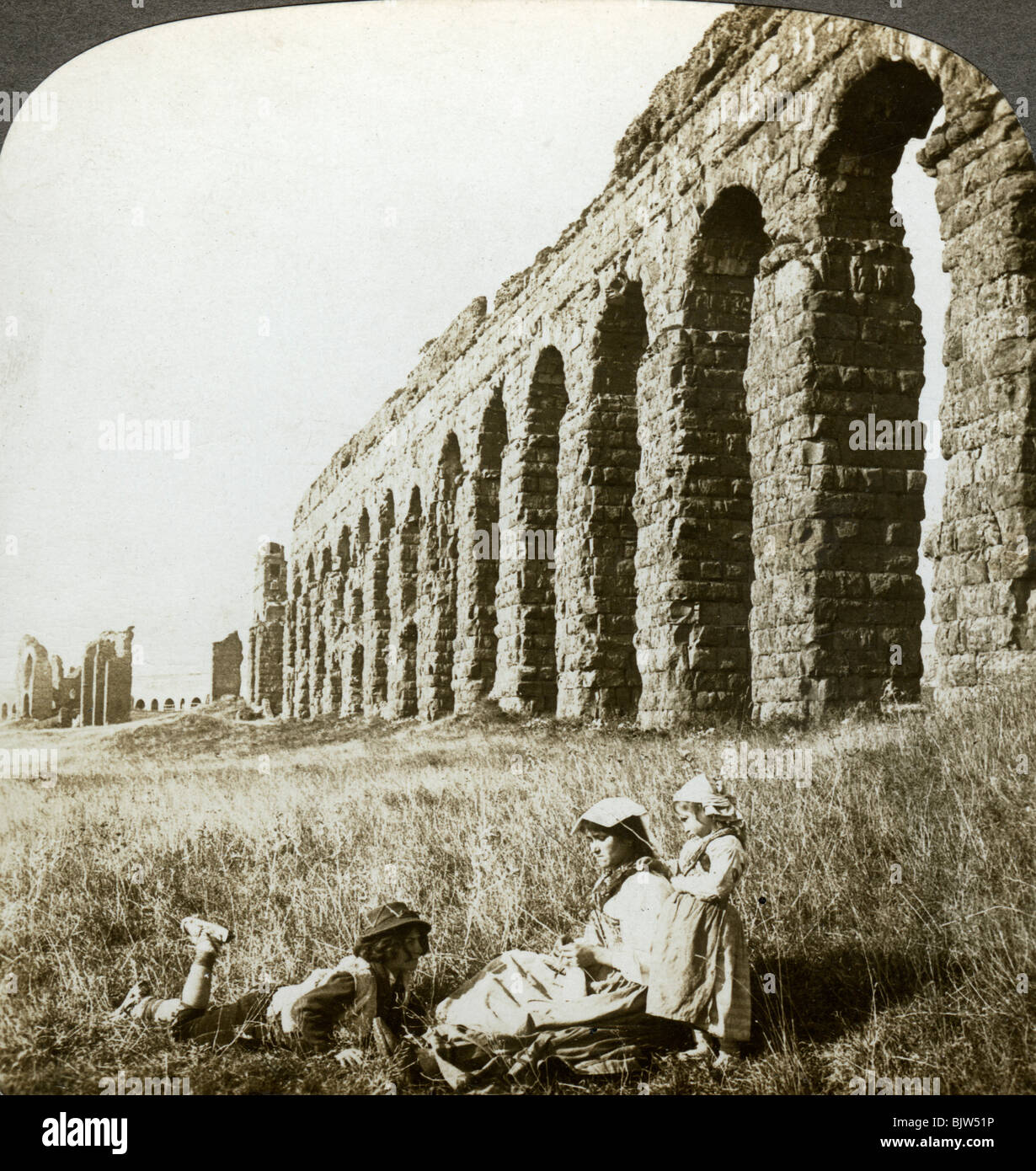 Aqueduct of Claudius and the Campagna, Rome, Italy. - Stock Image