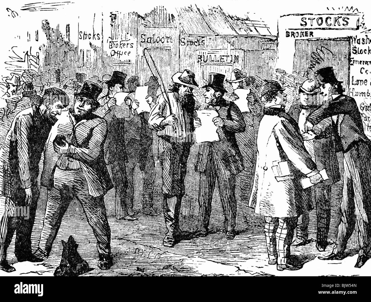 metals, gold, dealers, wood engraving, middle of 19th century, historic, historical, gold fever, gold rush, gold - Stock Image