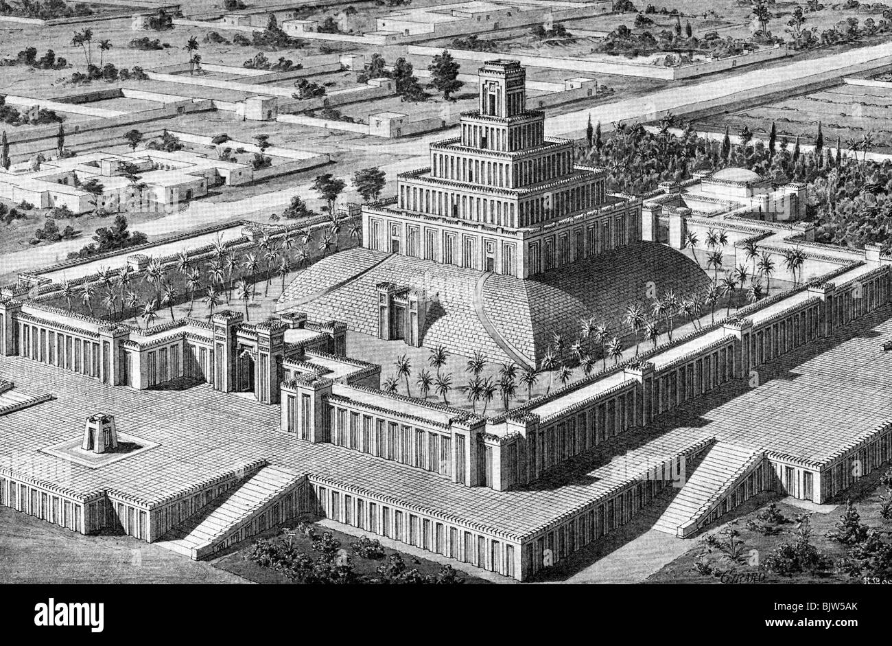 ancient world, Babylon, architecture, Chaldean Ziggurat, reconstruction, after Chipiez, drawing by Otto Giraud, Stock Photo