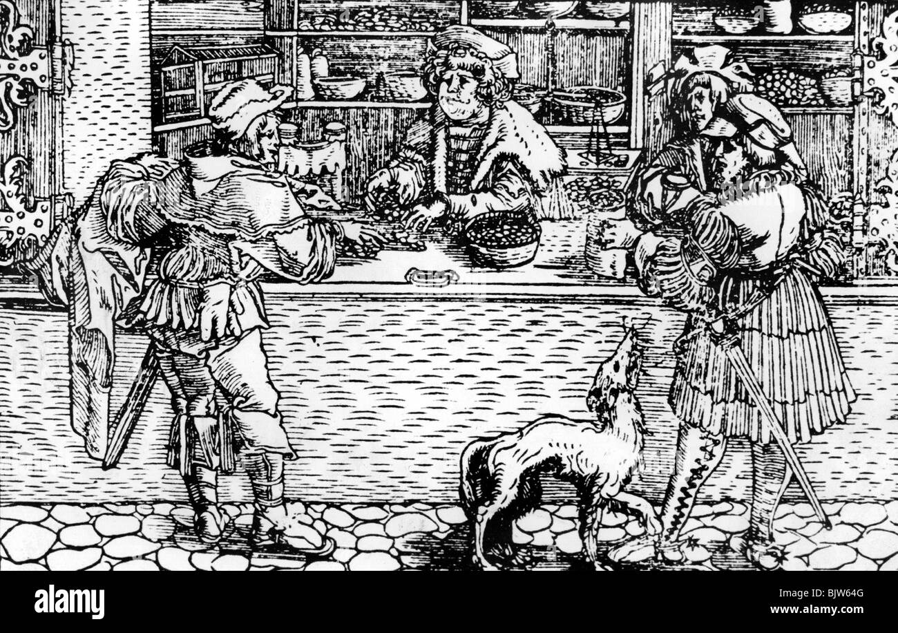trade, Middle Ages, shops, woodcut from J.Gobler 'Der Rechten Spiegel', Frankfurt, 1564, Additional-Rights - Stock Image