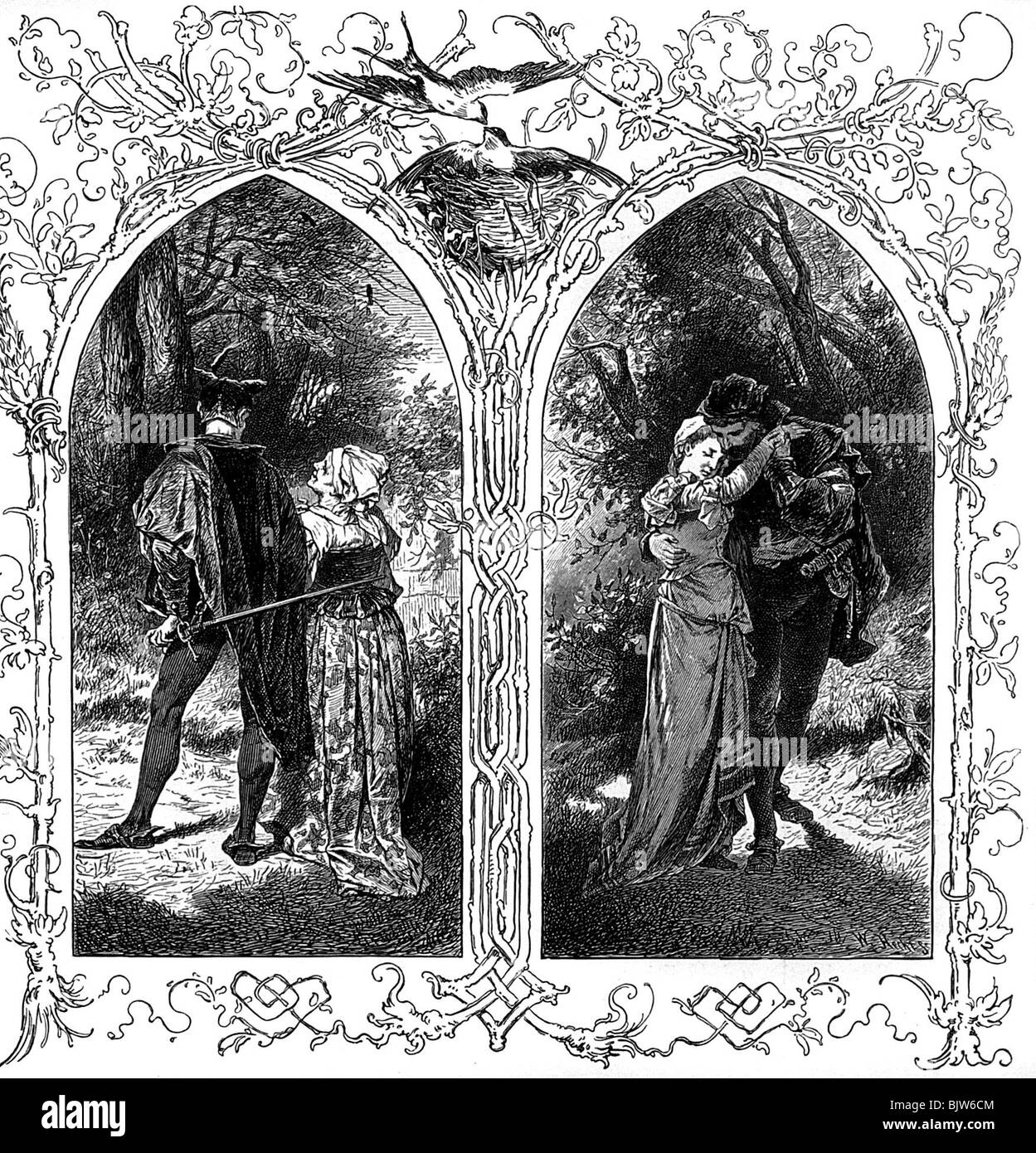 "literature, ""Faust I"", 12th scene ""Garden"", Gretchen and Faust, wood engraving by W. Hecht, circa 1870, Additional Stock Photo"