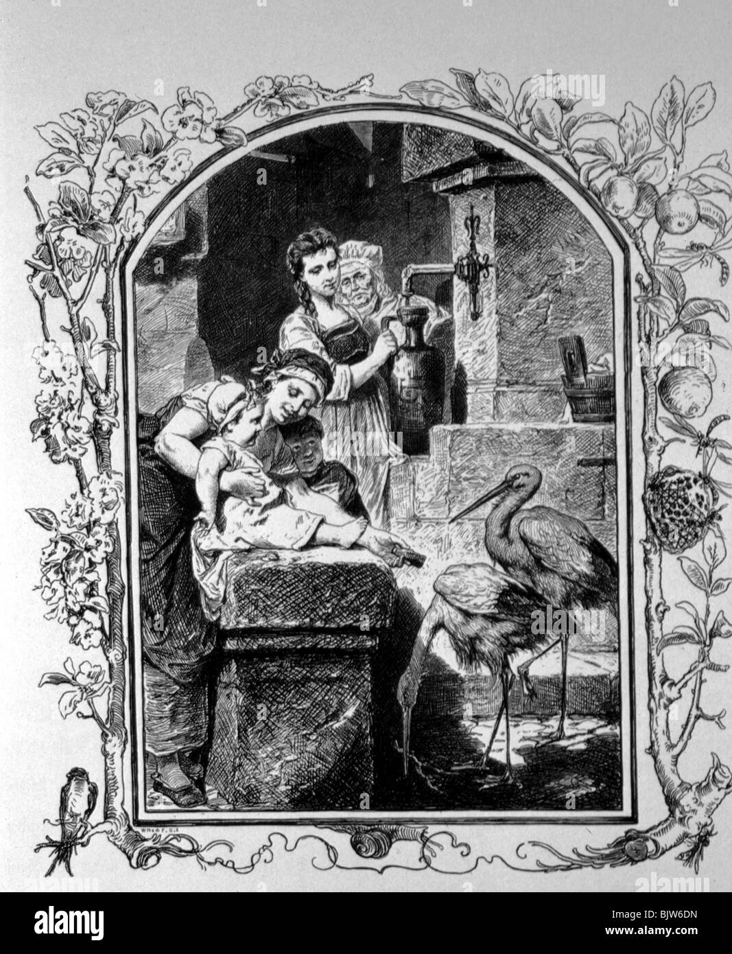 """literature, """"Faust I"""", 17th scene """"At the well"""", Gretchen and Lieschen at the well, wood engraving by W. Hecht, Stock Photo"""