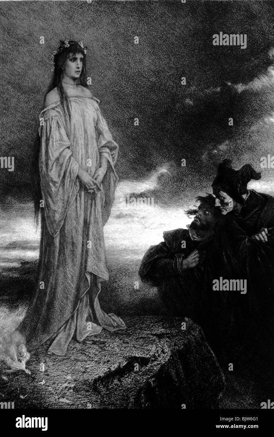 literature, 'Faust I', 22th scene 'Walpurgisnight', appearance,  wood engraving by Liezen Mayer, - Stock Image