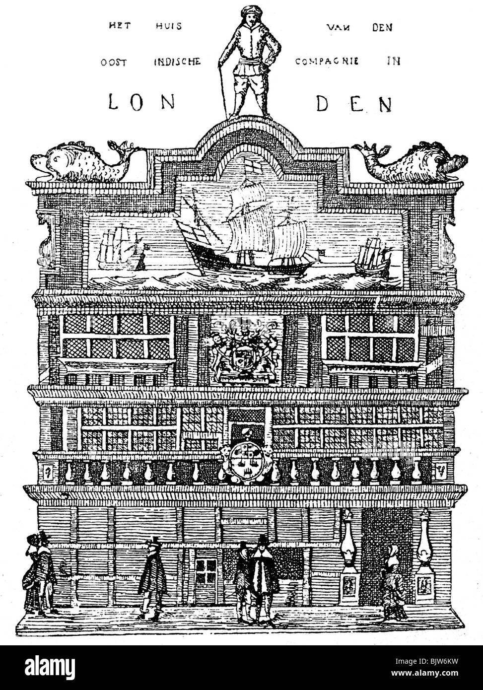 trade, trading company, British East Indian Company, wood engraving, London, 19th century, Additional-Rights-Clearances - Stock Image