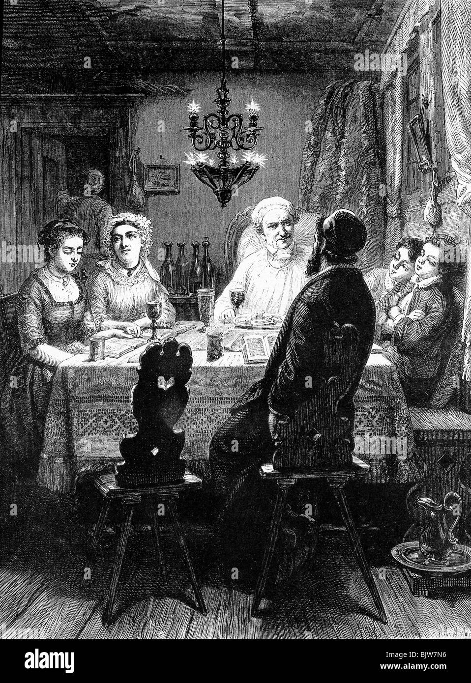 religion, Judaism, tradition, Passover Seder, wood engraving from 1867, Additional-Rights-Clearances-NA - Stock Image