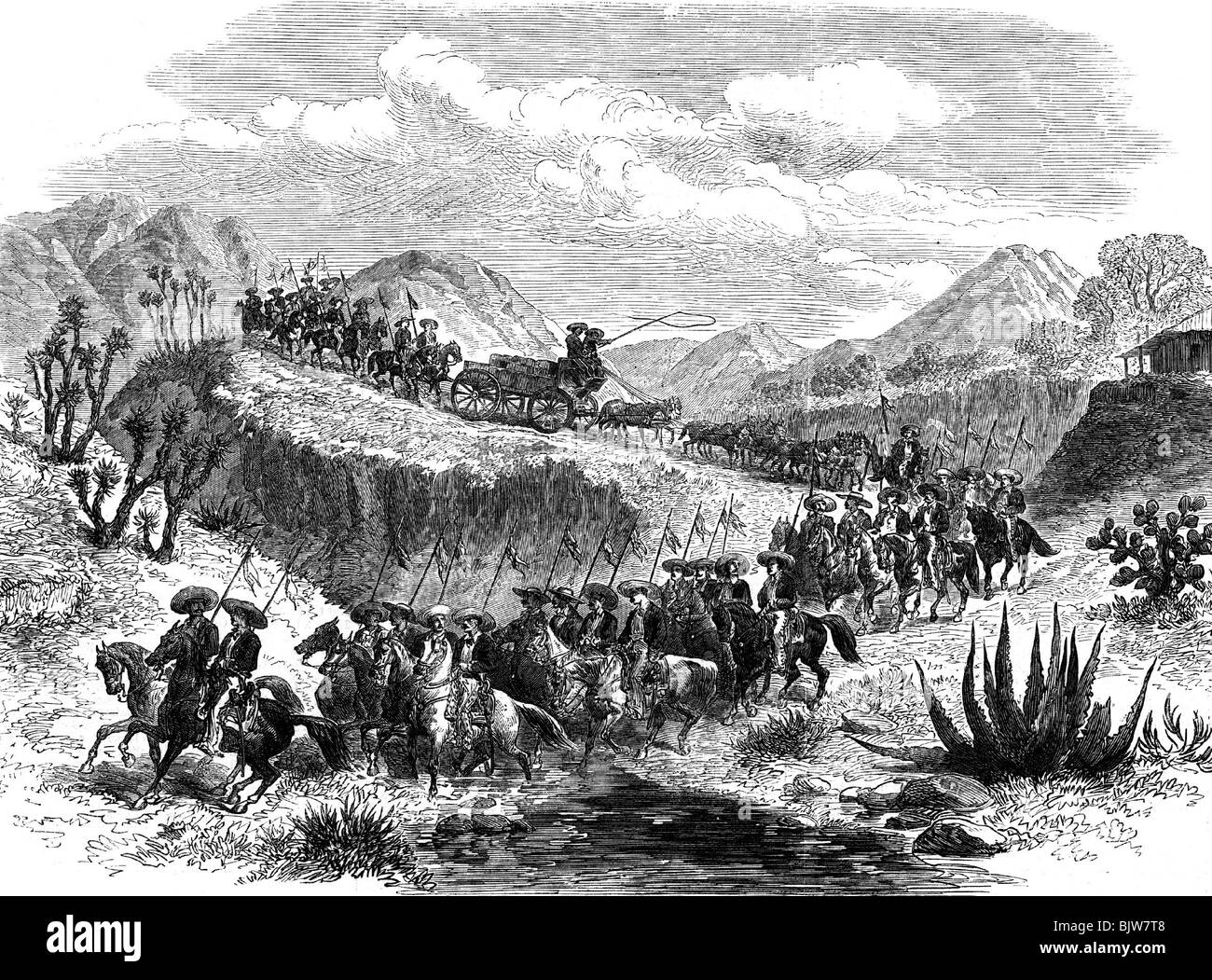 metals, silver, transport, soldiers escorting silver transport, wood engraving, Mexico, 19th century, historic, - Stock Image