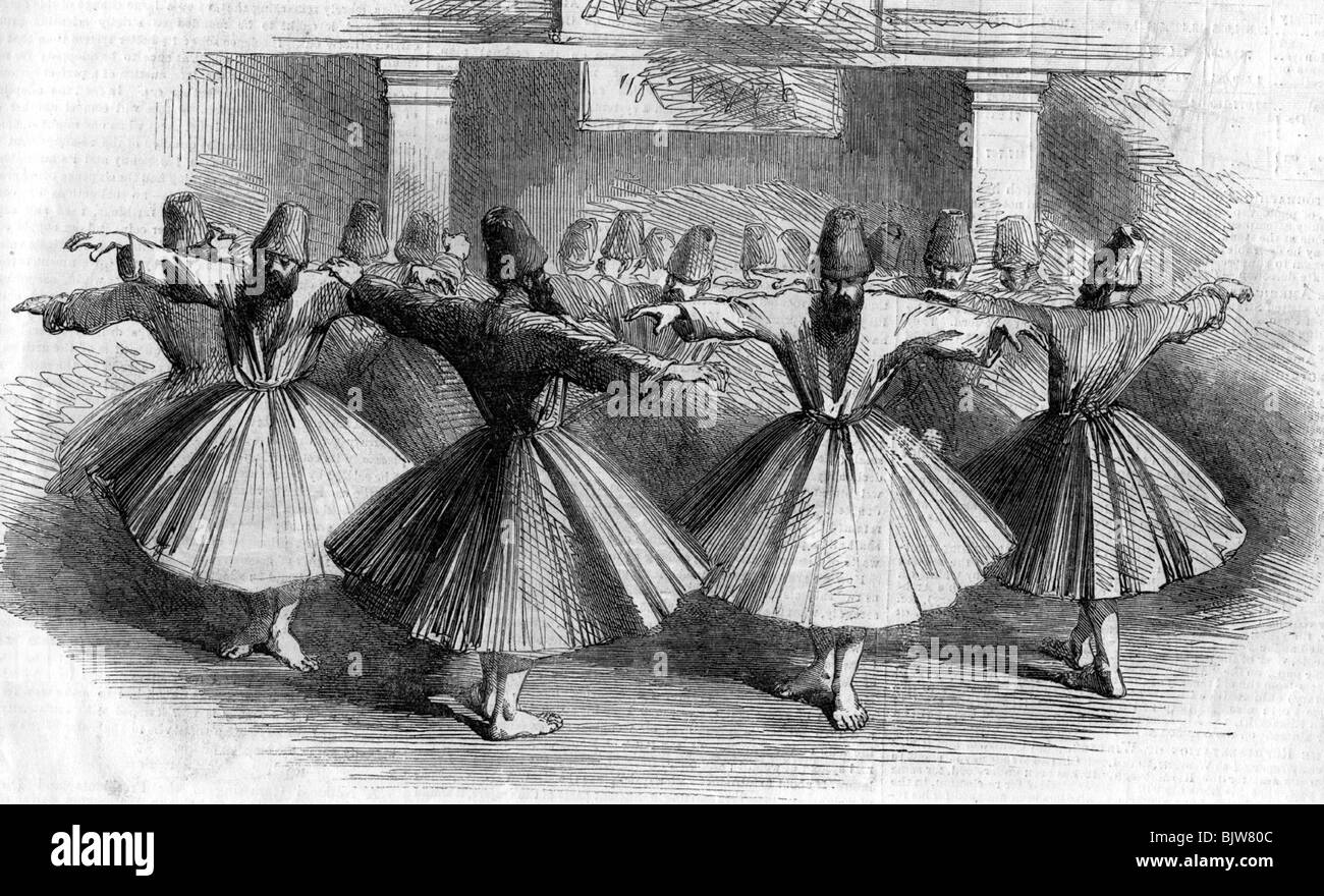 religion, Islam, dervish, dance, dances, Constantinople, wood engraving, um 1853, Additional-Rights-Clearances-NA - Stock Image