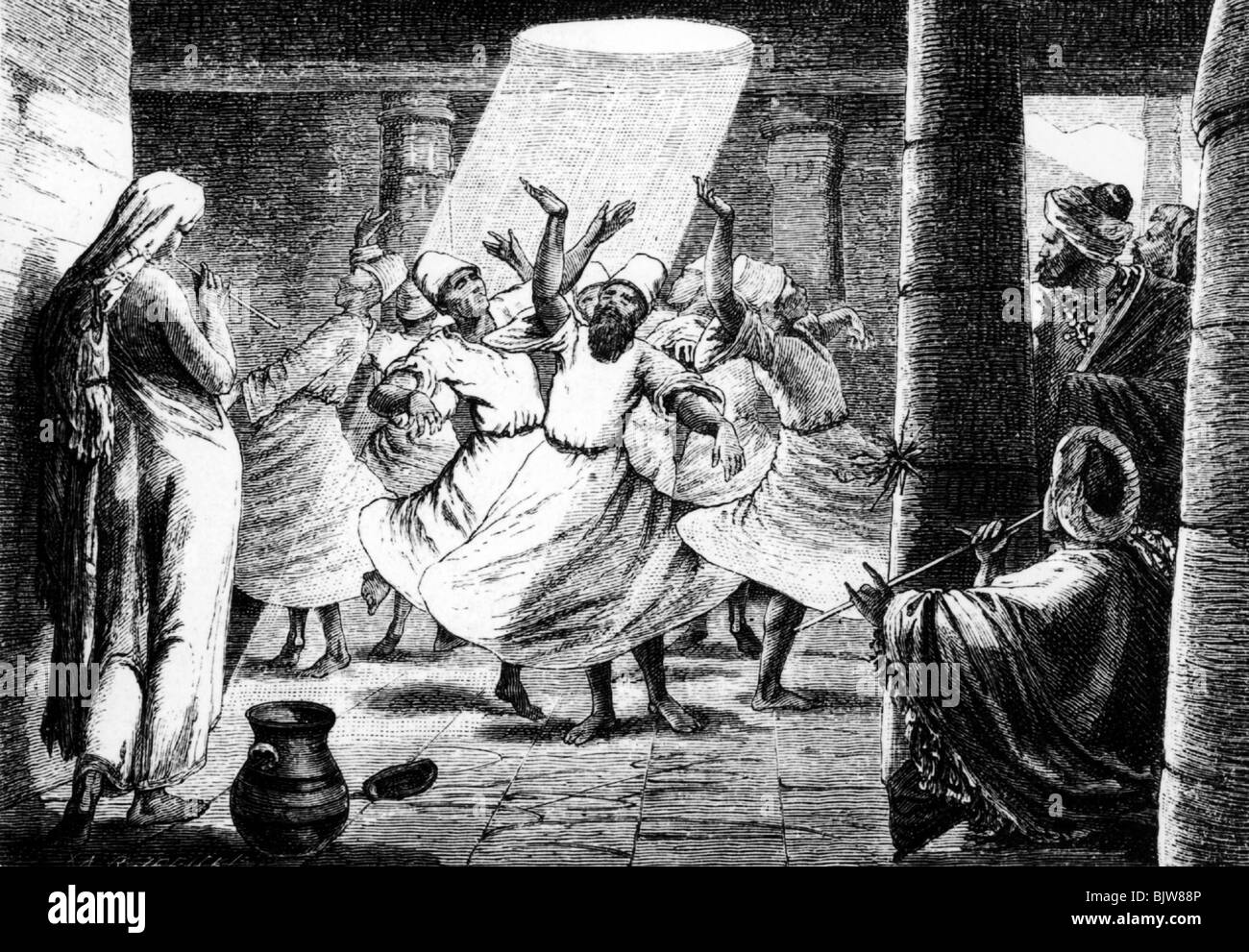 religion, Islam, dervish, dance, dances, wood engraving, after drawing by Jerick, 19th century, historic, historical, - Stock Image