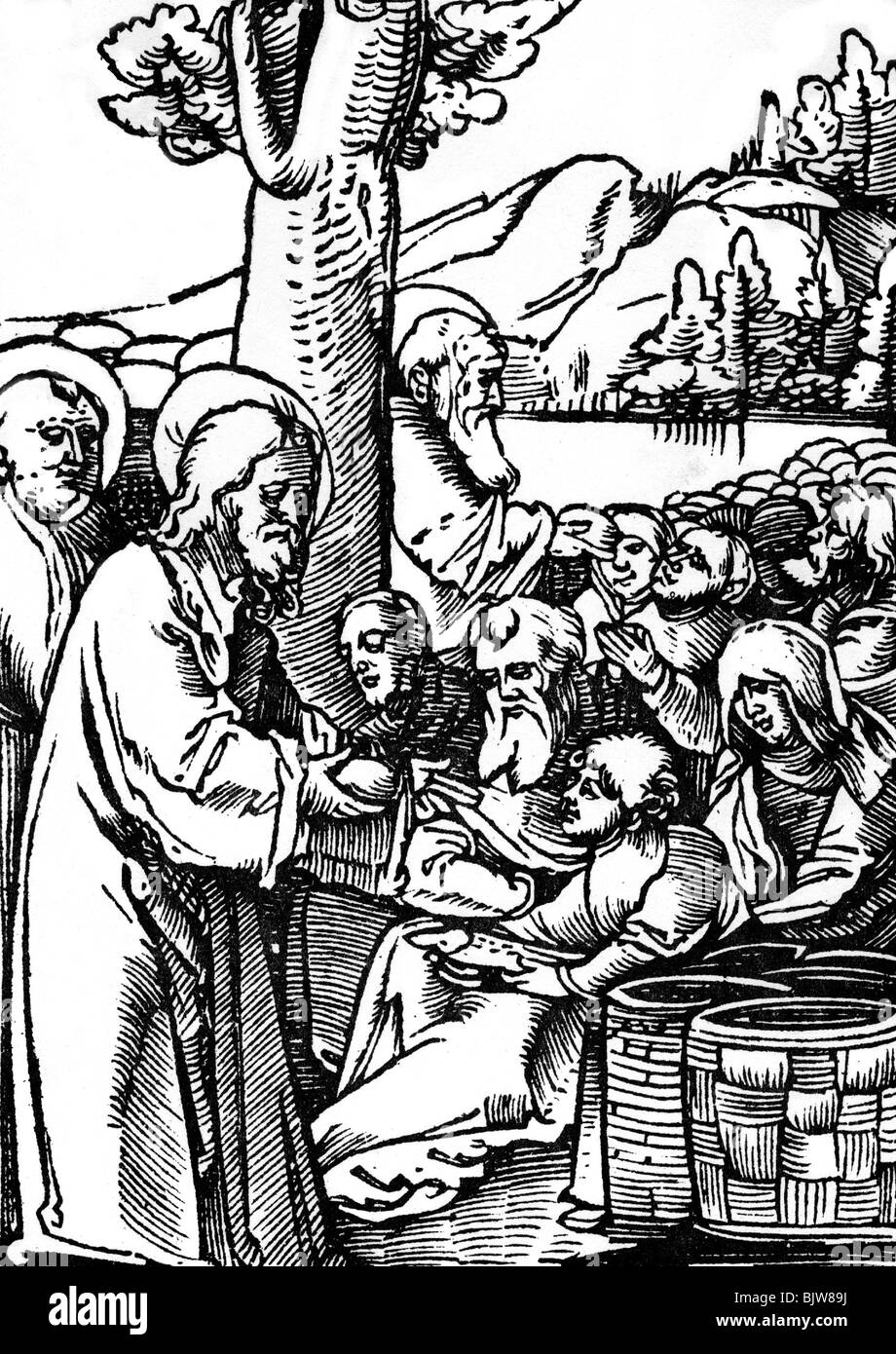 Religion Christianity Jesus Christ Scene Feeding Of The 5000 Woodcut By Schaeufelen 16th Century Historic Historical Br