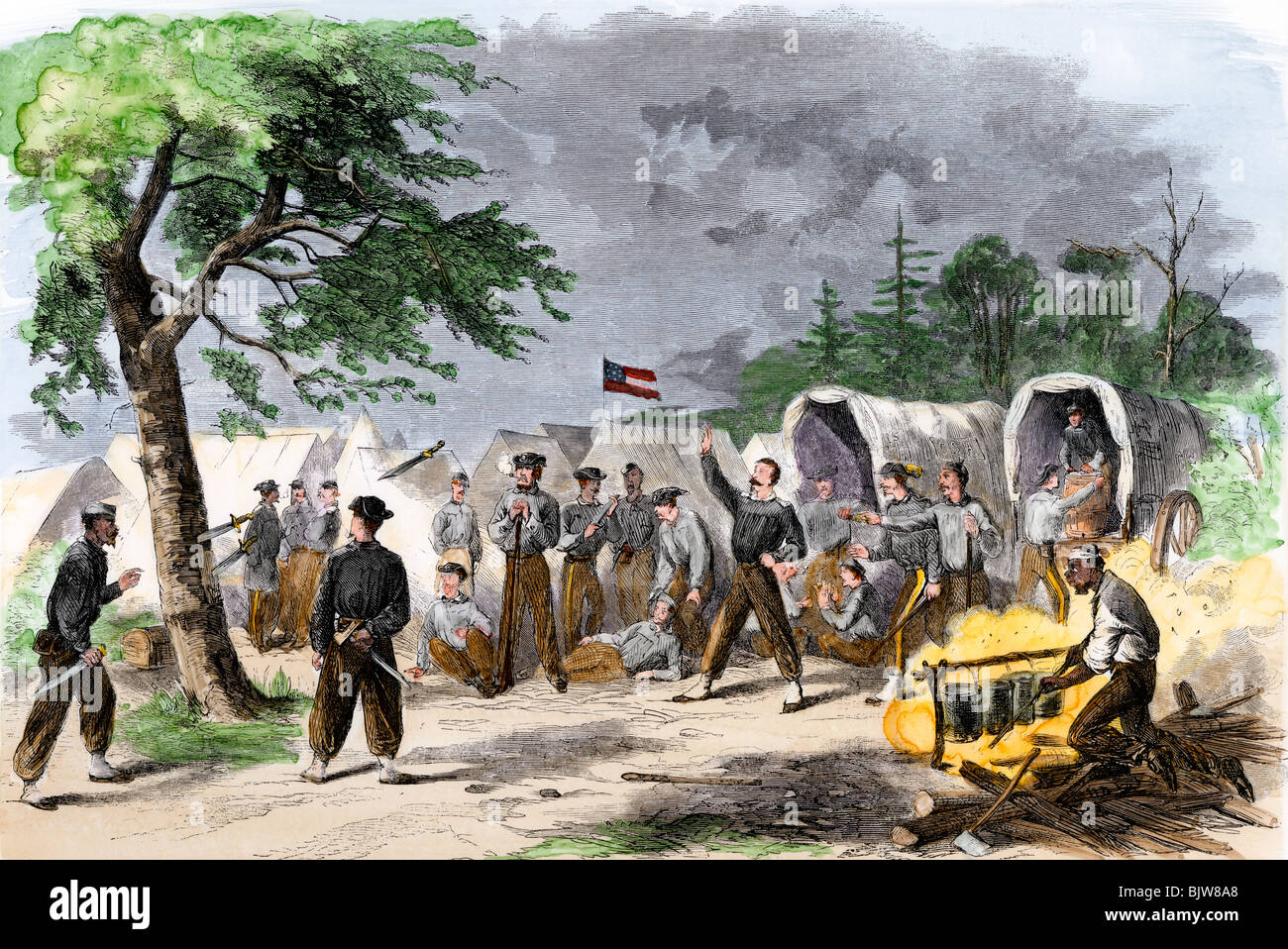 Mississippi regiment of Confederate soldiers practicing with the bowie knife in camp. Hand-colored woodcut - Stock Image