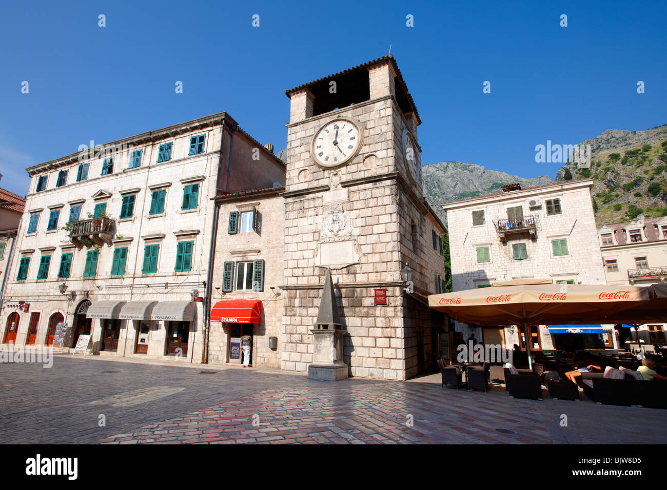 Squares of Arms, the main town square with the clock tower erected in 1602. Kotor, Montenegro. - Stock Image