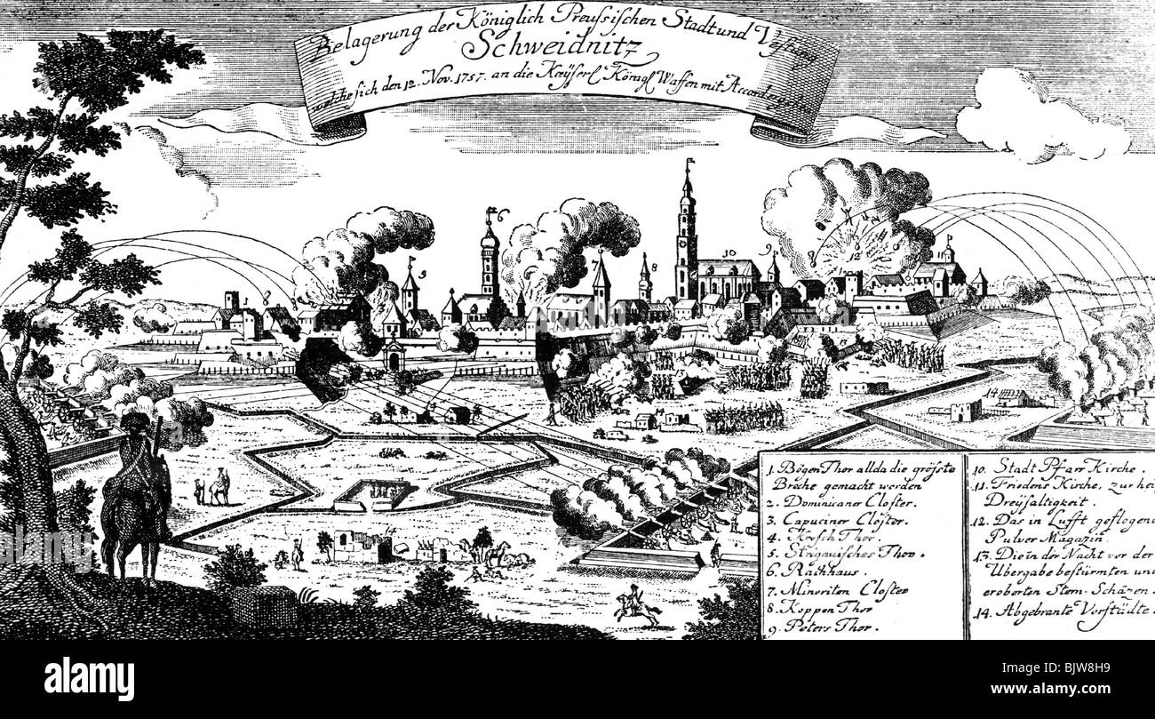 Seven Years War 1756 - 1763, Siege of Schweidnitz, 1762, contemporary  copper engraving, Third Silesian War, Prussians, Prussia, Silesia, Poland,  ...