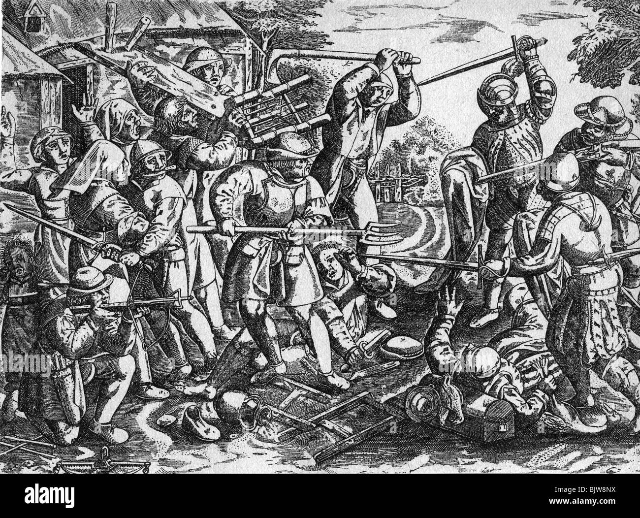 events, German Peasants' War, 1524 - 1526, soldiers attacking a farmstead,  copper engraving by Domenicus Custos (circa 1560 - 1612), 16th century,  historic, ...