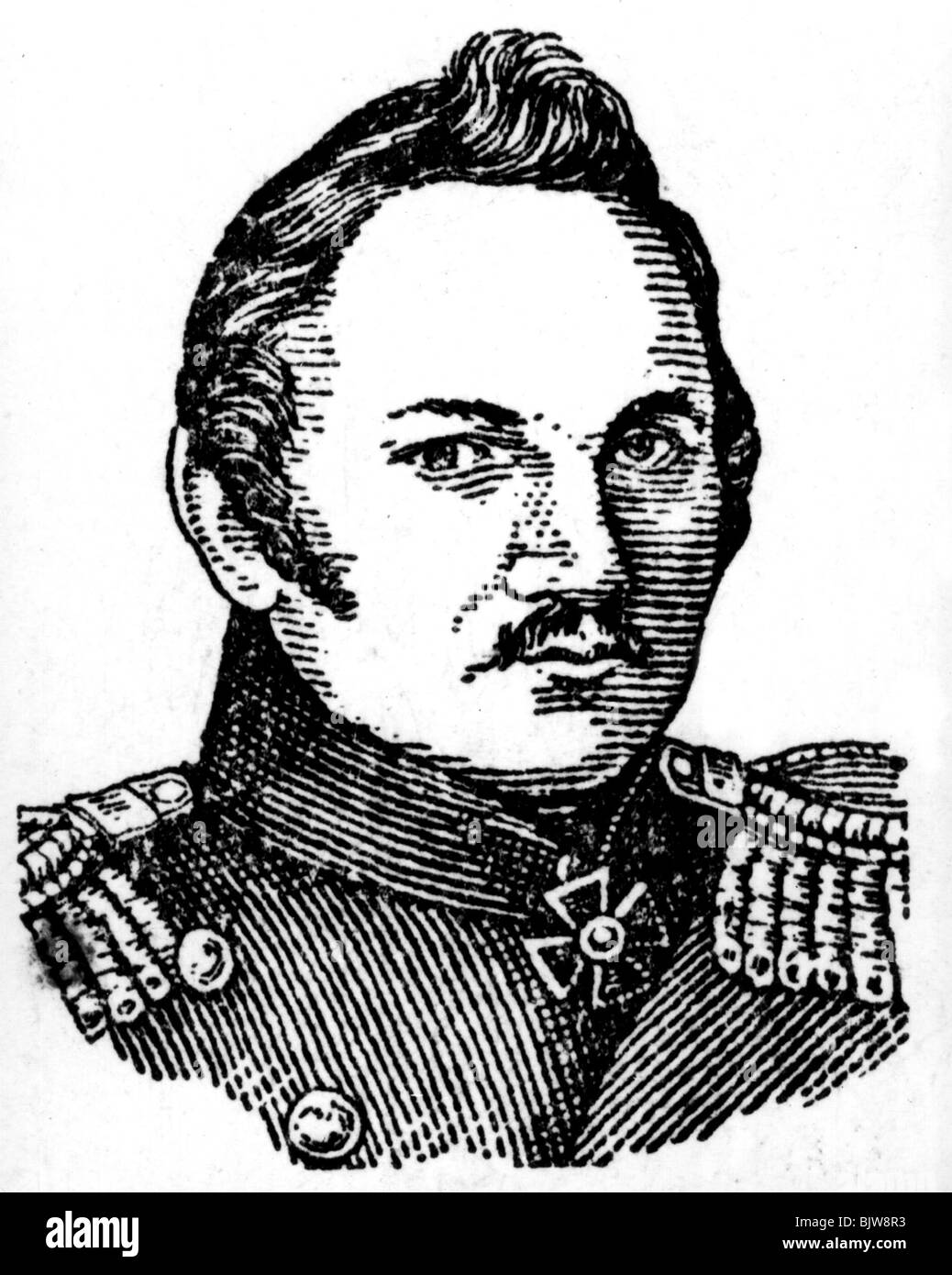 Bellingshausen, Fabian von, 20.9.1778 - 25.1.1852, Russian navigator and Antarctic explorer, portrait, later drawing, - Stock Image