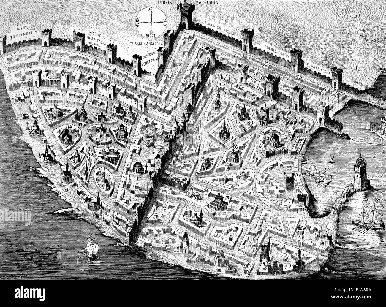 middle ages, crusades, Acre, last fortress of crusaders, fallen 1291, fortification, circa 1290, wood engraving, - Stock Image