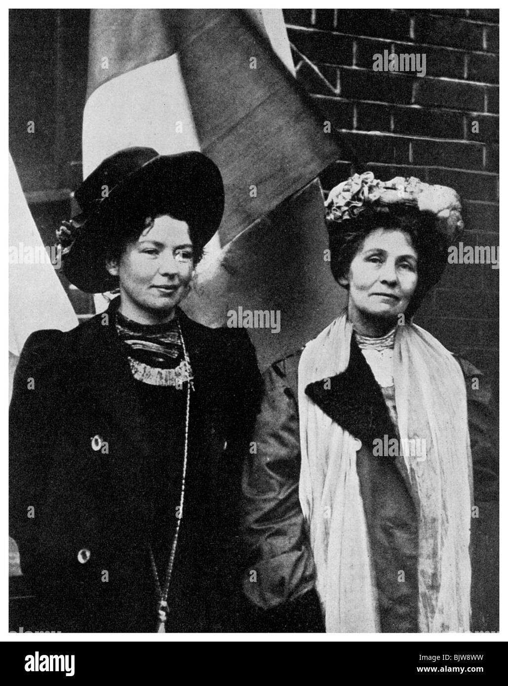 Emmeline Pankhurst, British suffragette, and her daughter Christabel, early 20th century (1956). Artist: Unknown - Stock Image