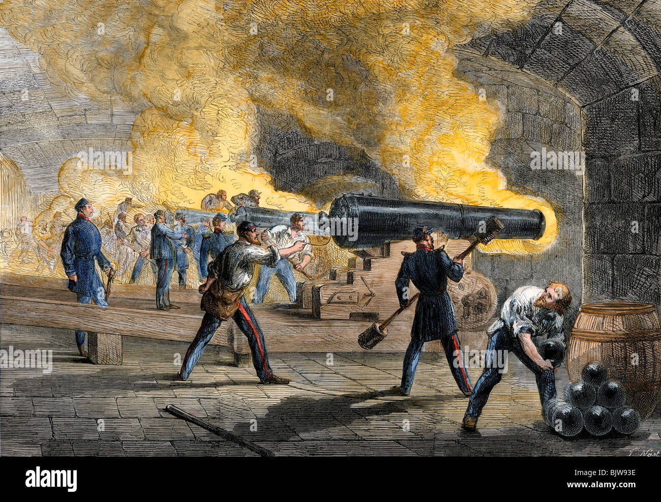 Big guns of Fort Sumter returning fire from Fort Moultrie at the start of the Civil War, 1861. Hand-colored woodcut - Stock Image