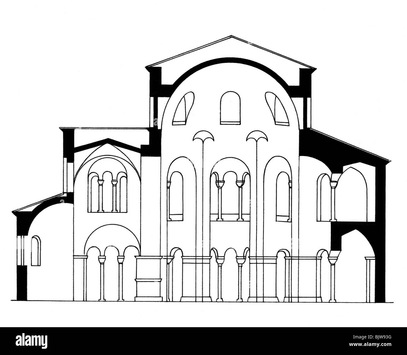 architecture ground plan cross section of a romanesque church