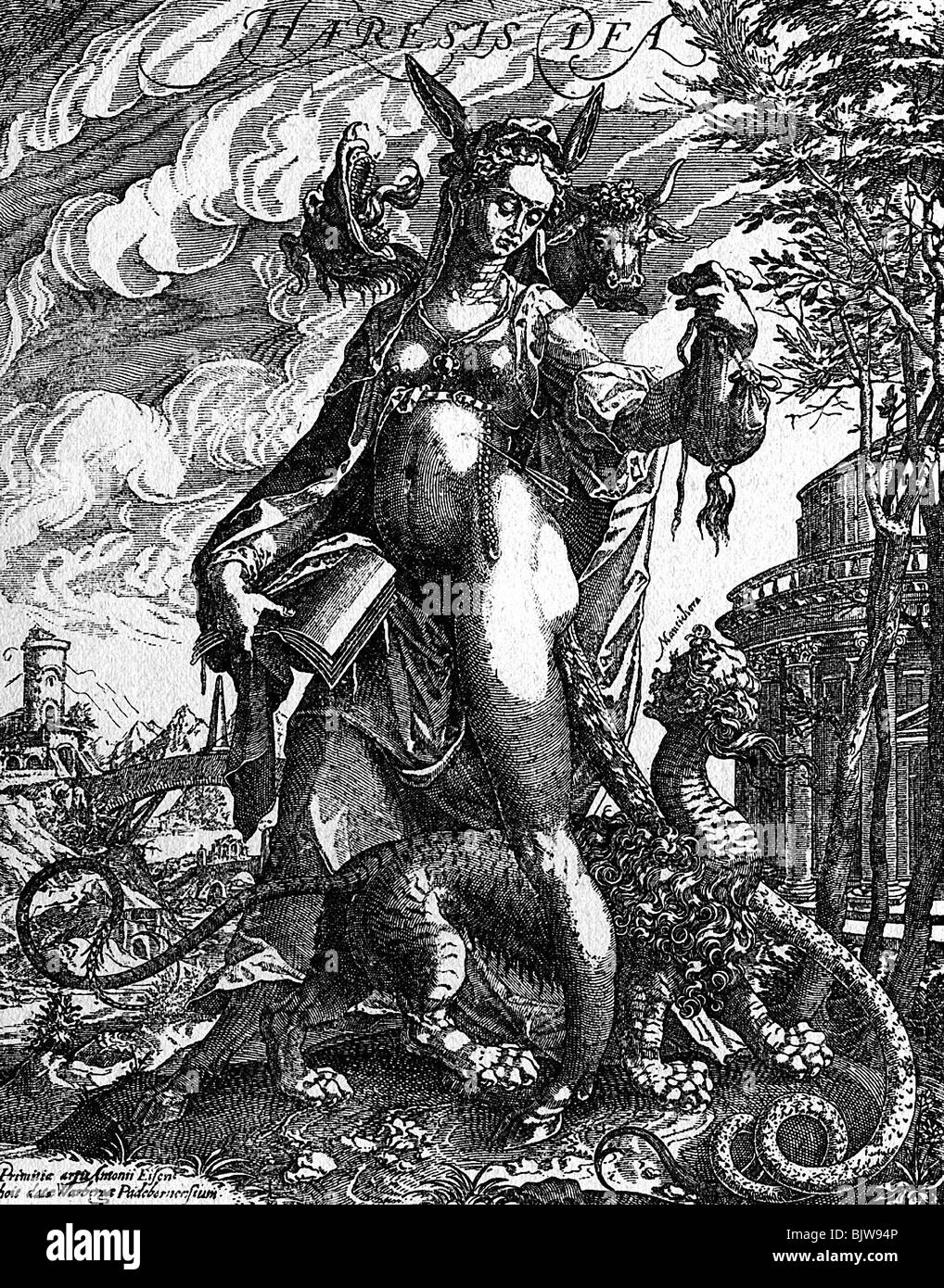 religion, Christianity, allegories, 'Goddess Heresy', as allegory about the false doctrine, copper engraving - Stock Image