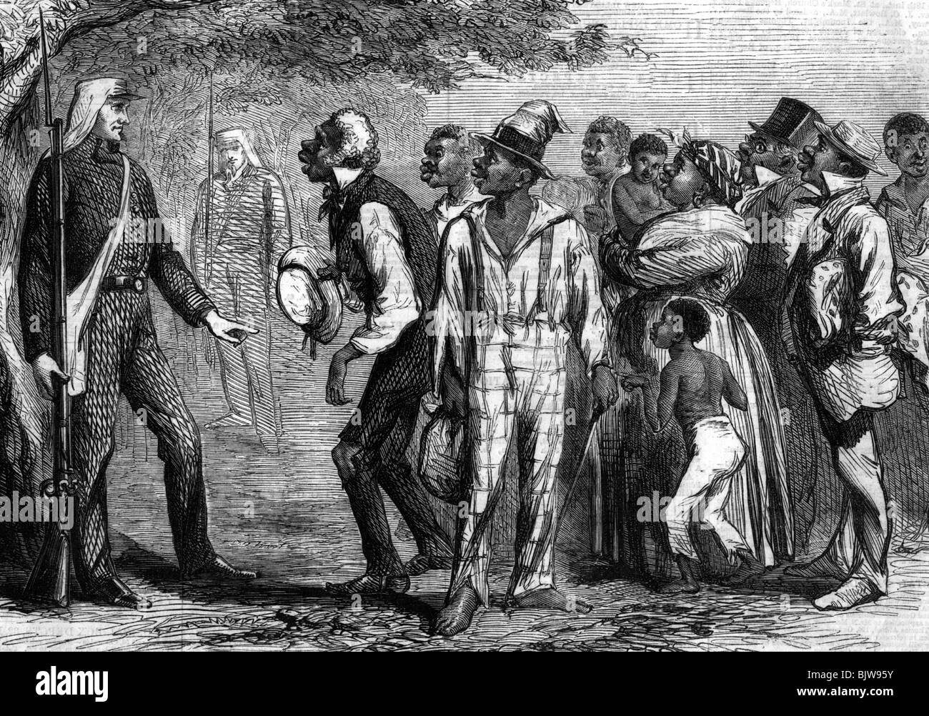 geography / travel, USA, American Civil War 1861 - 1865, runaway slaves at  a Union picket, wood engraving, 1861, Afroamericans, coloured, people, ...