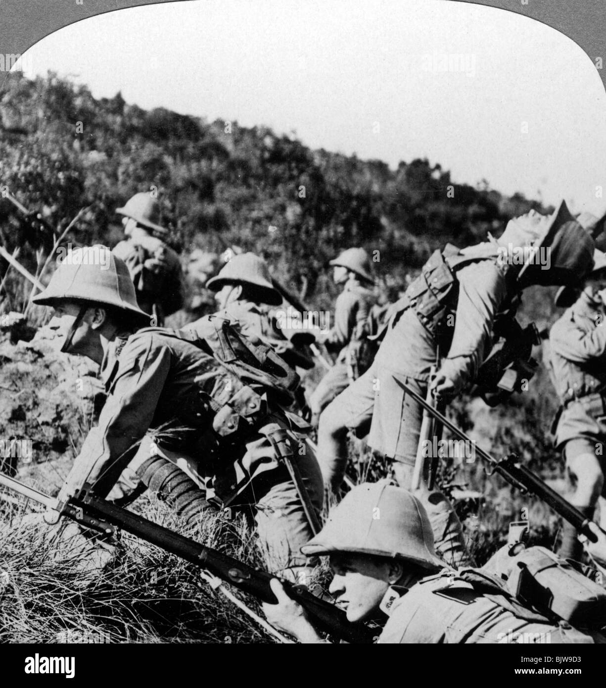 British infantry charging German positions, East Africa, World War I, 1914-1918. - Stock Image
