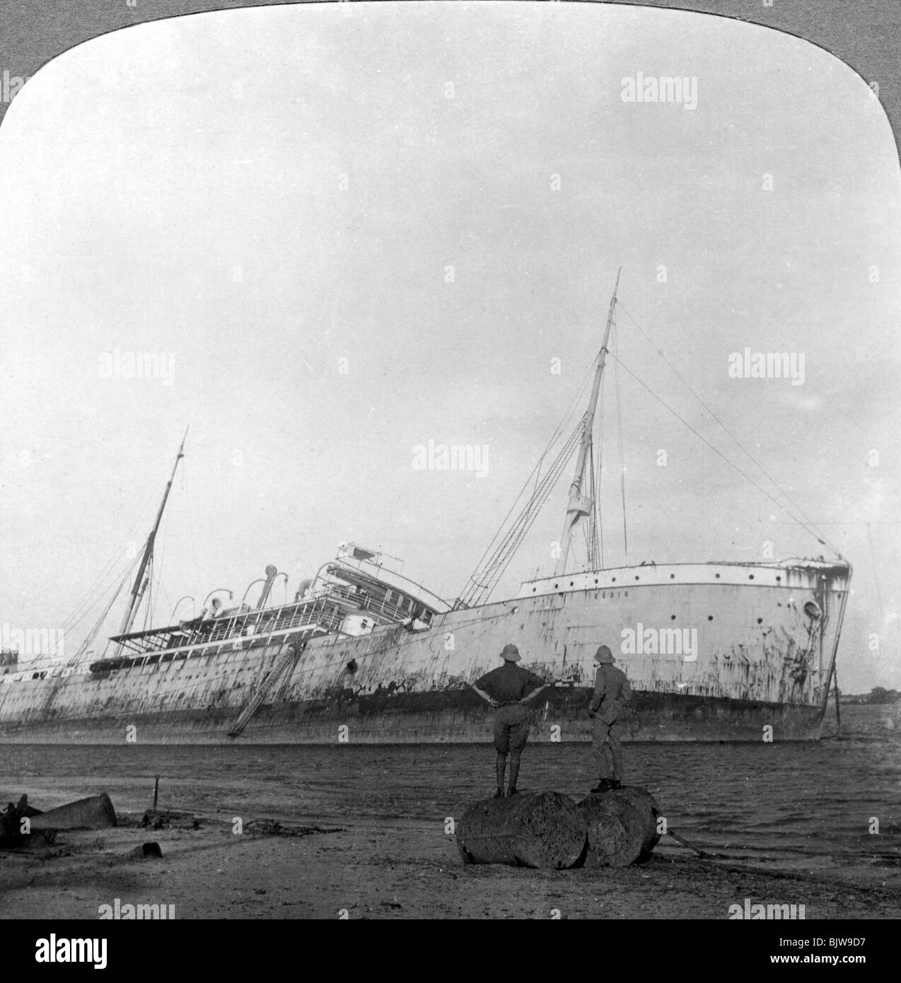 German cruiser sunk off Dar es Salaam, Tanzania, World War I, 1914-1918. - Stock Image